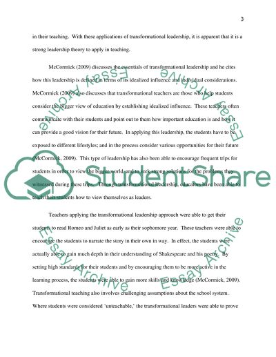 Educational Leadership Theories Research Paper Example