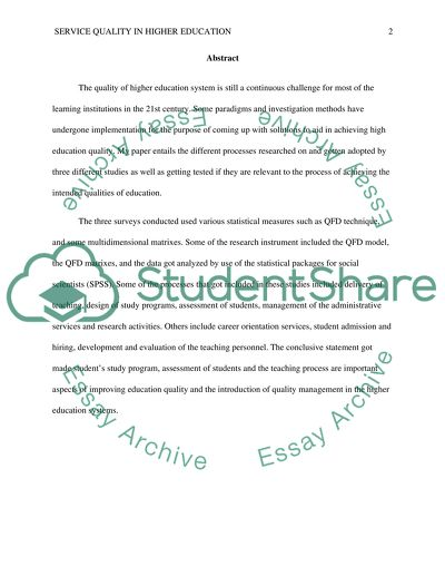 Quality Of Service - Essay Writing Service