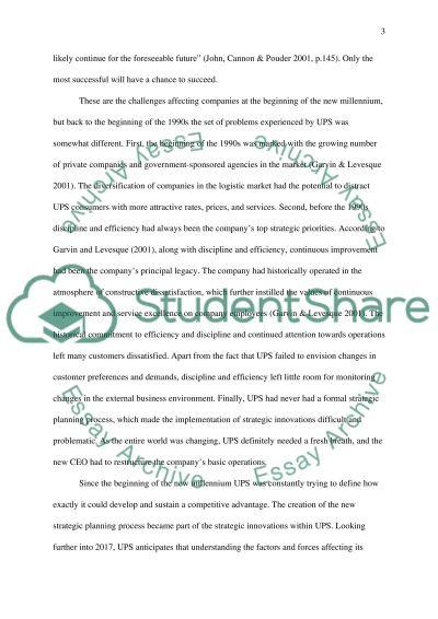 UPS Company Strategy essay example