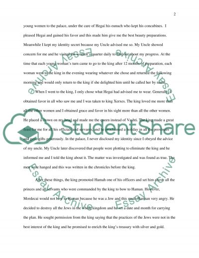 First Person Paper about Esther essay example