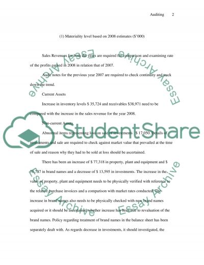 Auditing Case Study essay example