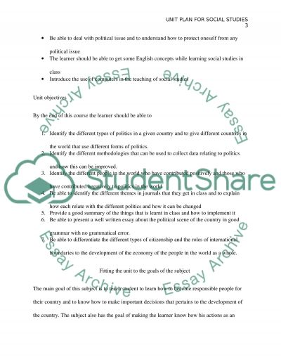 Unit Plan for English learners