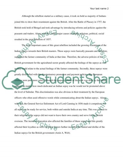 essay on sepoy rebellion Get even a better essay we will write a custom essay sample on sepoy rebellion topics specifically for you order now.