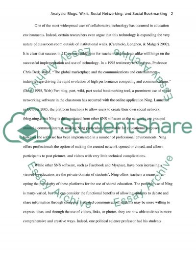 Reflective essay - analyse blogs, wikis, social networking, social bookmarking tools essay example