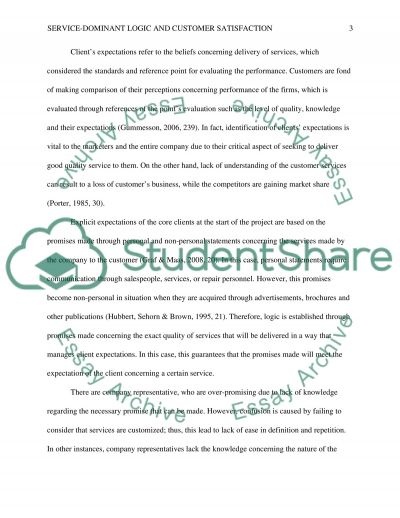 Service-dominant logic and customer satisfaction essay example