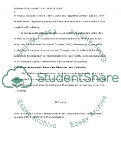 Improving Learning and Achievement essay example