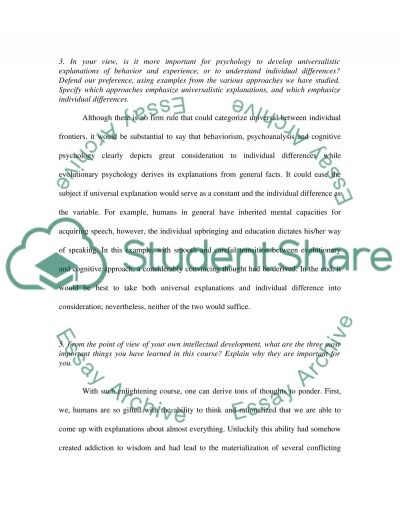 Cognitive approach over Psychology essay example