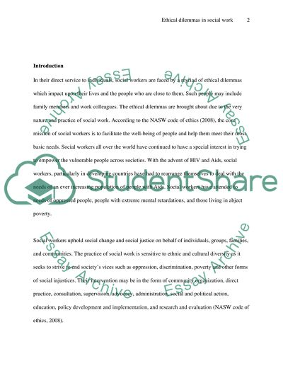 Social work essay examples