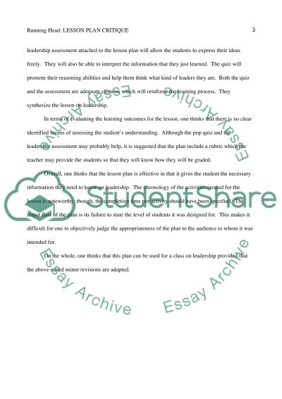 lesson plan critique essay example topics and well written  lesson plan critique essay example