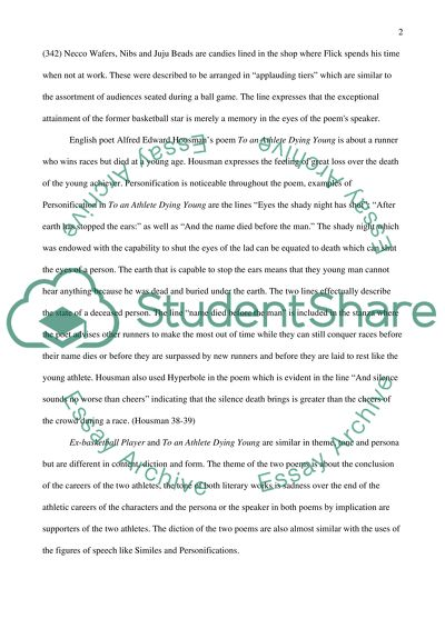 High School English Essay Topics Comparison And Contrast Of  Poem To An Athlete Dying Young  Housman And  Ex An Essay On Newspaper also English Essay Papers Comparison And Contrast Of  Poem To An Athlete Dying Young  Essays On High School