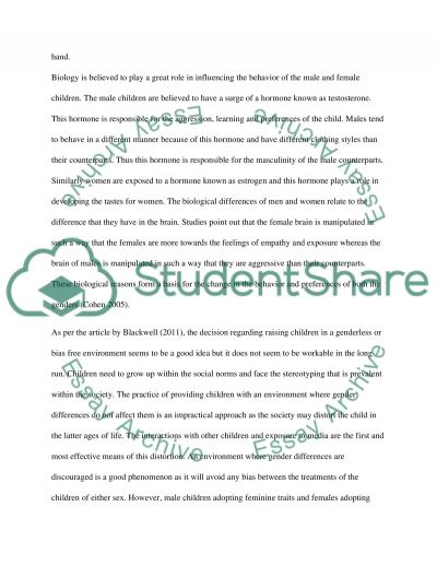 Gender Differences In The Childhood essay example