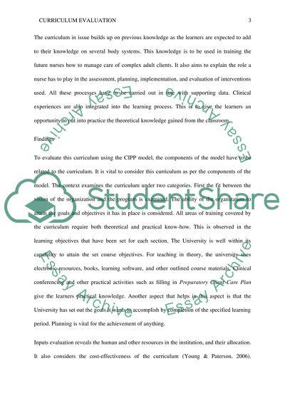 Curriculum Evaluation Paper