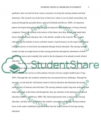 Clinical problem statement essay example