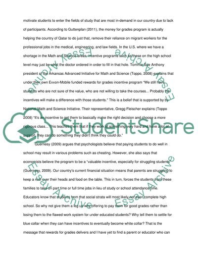 Should students be paid for good grades essay