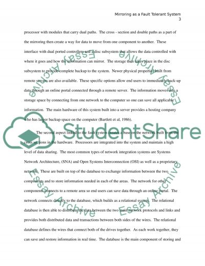 Fault Tolerance Paper essay example