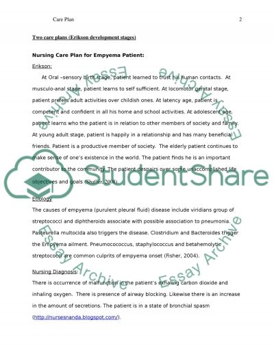 Care plan and assignments Admission Essay example