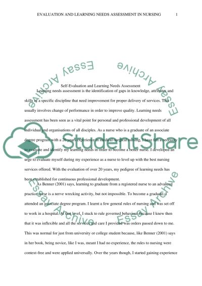 Self-Evaluation and Learning Needs essay example