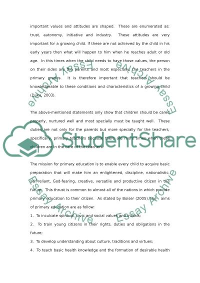 The contemporary nature of primary school teaching essay example
