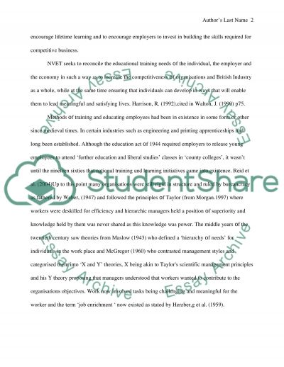 National Vocational Educational and Training essay example