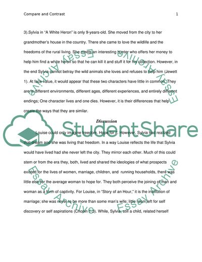 Compare and Contrast Essay Discussing the Main Characters: The Story of an Hour and A White Heron