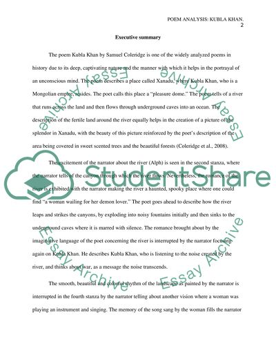 Essay For Science Analysis Of The Poem Kubla Khan Examples Of Essays For High School also English Literature Essay Analysis Of The Poem Kubla Khan Essay Example  Topics And Well  Narrative Essay Example For High School