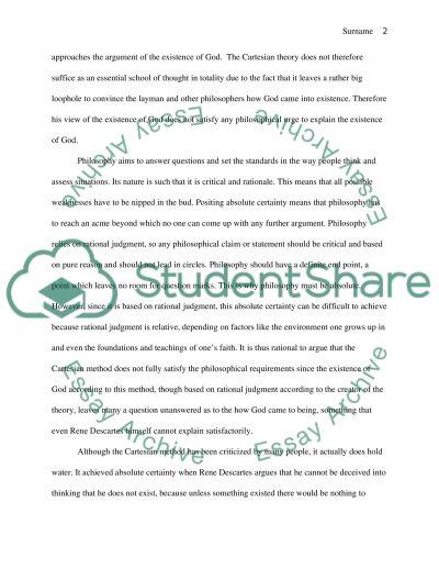 Descartes essay example
