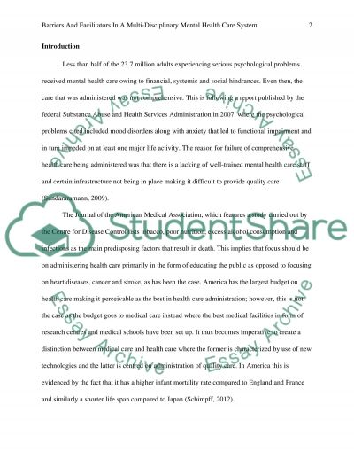 Barriers and facilitators in collaboration with consumers and carers essay example