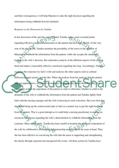 Discussion and reply to a discussion Essay essay example