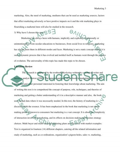 Marketing - A Research Proposal essay example