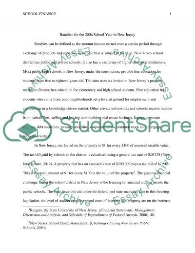 School Finance in New Jersey essay example