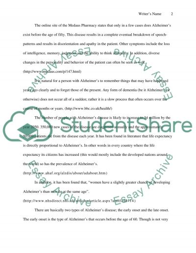Alzheimers Disease essay example