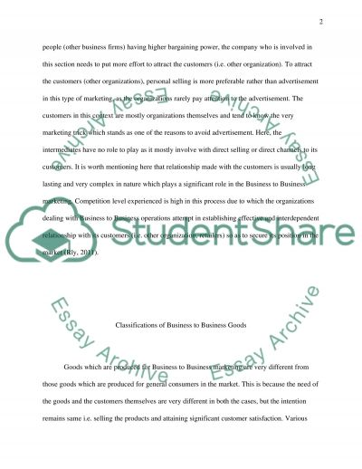 Business to Business Marketing Term Paper example