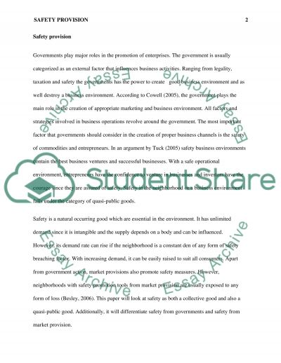 Marketing - Safety Provision essay example