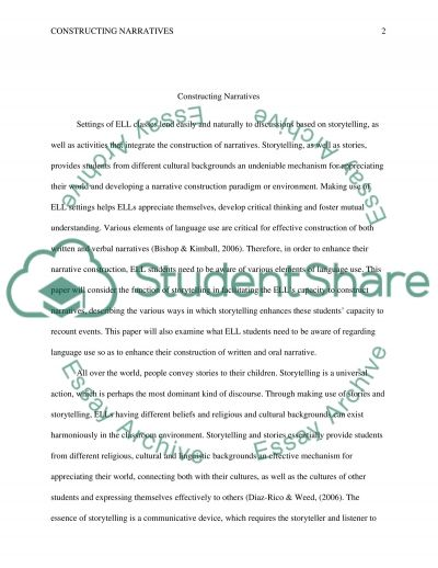 Constructing Narratives essay example