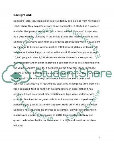 pizza dominos essay This assignment will discuss about the company dominos pizza with the  scenario online ordering system that the domino's pizza is using this.