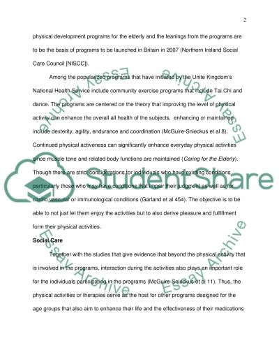 Caring for the Elderly Essay example