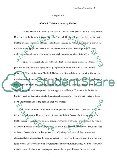 College Vs High School Essay Sherlock Holmes A Game Of Shadows Abraham Lincoln Essay Paper also Business Essay Examples Sherlock Holmes A Game Of Shadows Essay Example  Topics And Well  Thesis Example Essay