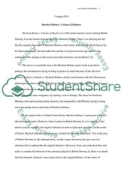 Sherlock Holmes A Game Of Shadows Essay Example  Topics And Well  Sherlock Holmes A Game Of Shadows
