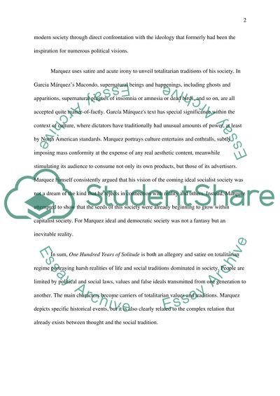 Examples Of Proposal Essays One Hundred Years Of Solitude Compare And Contrast High School And College Essay also Reflective Essay Thesis Statement Examples One Hundred Years Of Solitude Essay Example  Topics And Well  1984 Essay Thesis