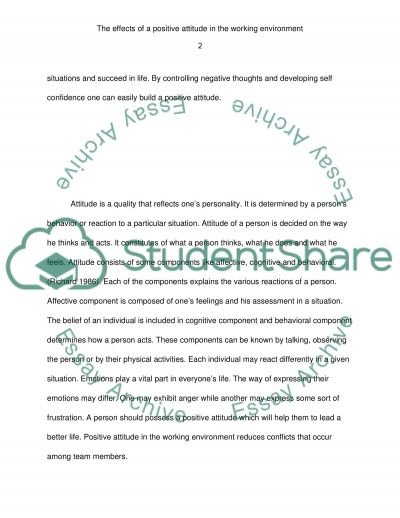 Positive Attitude in the Working Environment essay example