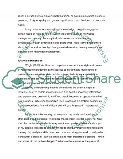 Personal Knowledge Management Journey essay example