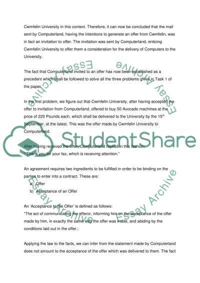 Law of Contract essay example
