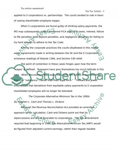 Tax Accounting Article Research and Synopsis Writing essay example