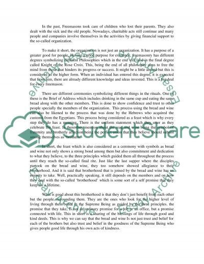 Freemasonry essay example