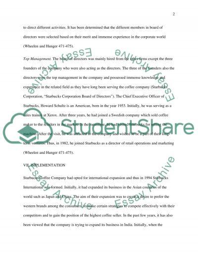 Starbucks Coffee Company essay example