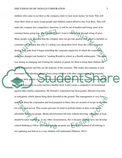 IMRD RESEARCH PAPER (McDonalds) essay example