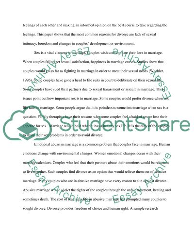 Marriage and Divorce - Term Paper - Ag