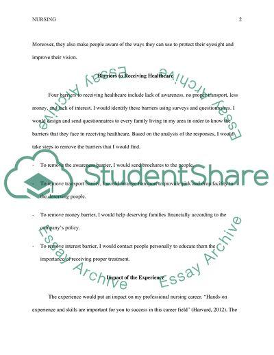 Eye Screening Reflection of Learning