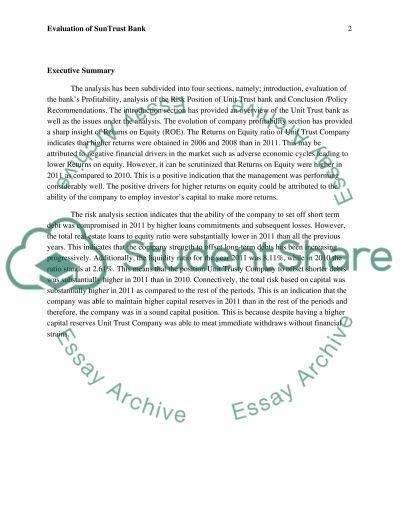 Evaluation of SunTrust Bank essay example