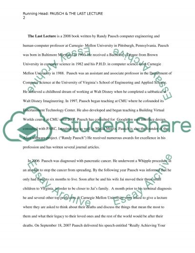 Dr. Randy Paush & The Last Lecture essay example